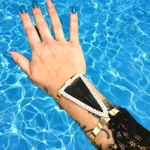 LASTMaxi Triangle Crystal Metal Maxi Cuff Bracelet